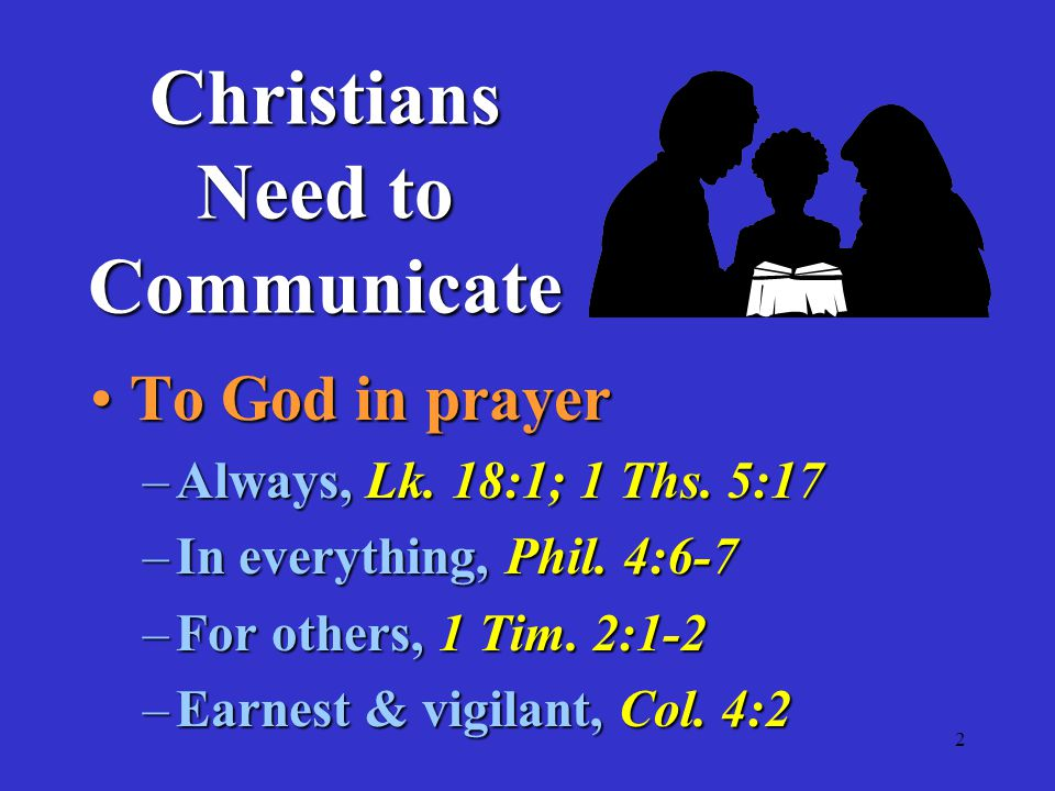 2 To God in prayerTo God in prayer –Always, Lk. 18:1; 1 Ths.