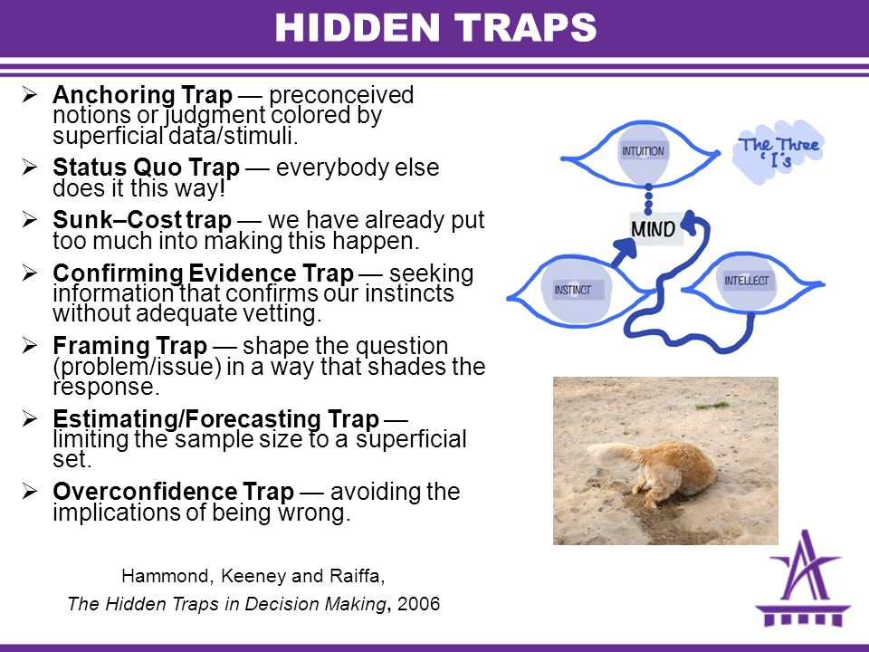 HIDDEN TRAPS  Anchoring Trap — preconceived notions or judgment colored by superficial data/stimuli.