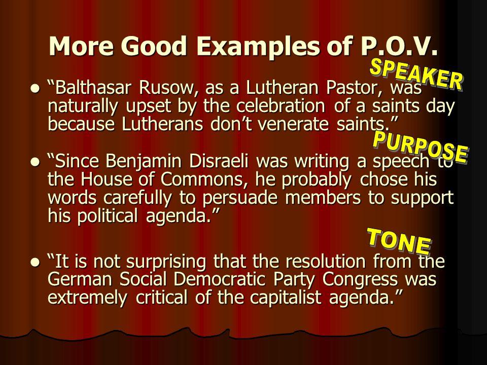 Including P.O.V.