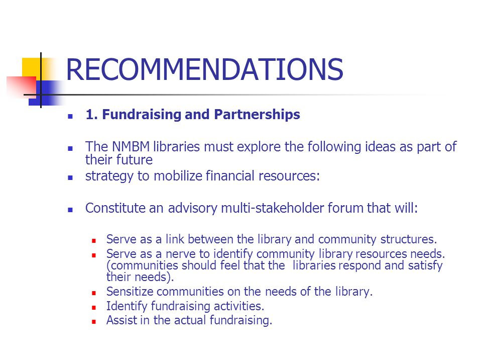1. Fundraising and Partnerships The NMBM libraries must explore the following ideas as part of their future strategy to mobilize financial resources: