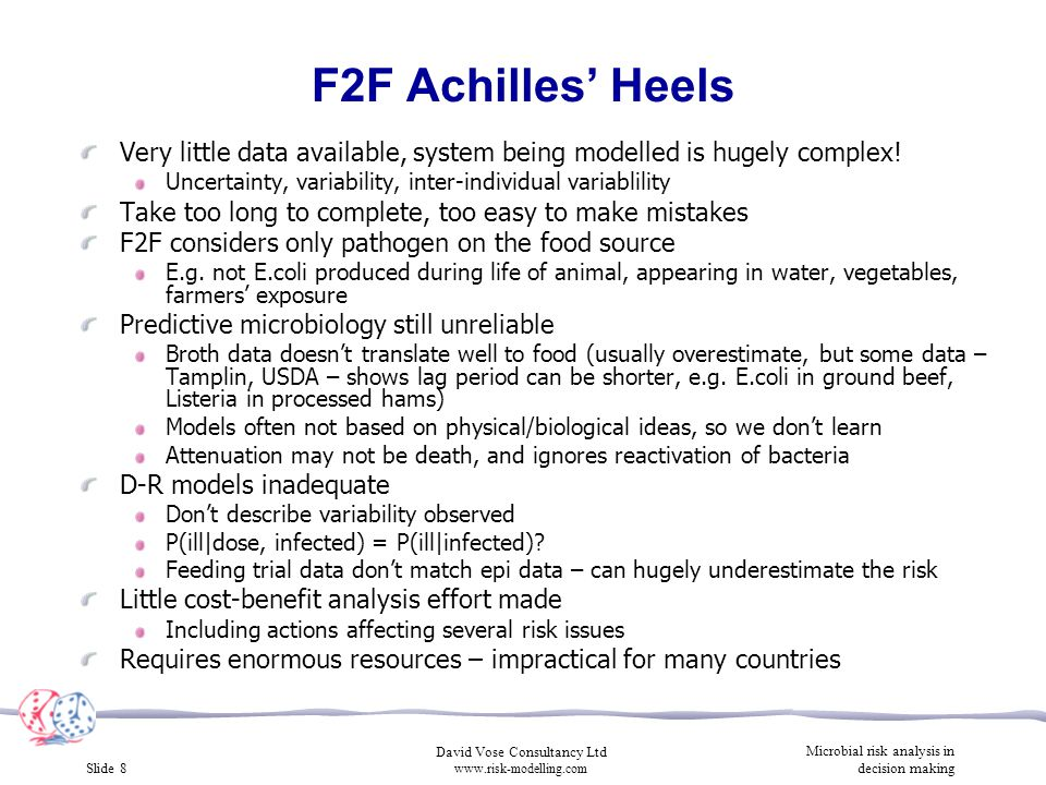Slide 8 David Vose Consultancy Ltd www.risk-modelling.com Microbial risk analysis in decision making F2F Achilles' Heels Very little data available, s