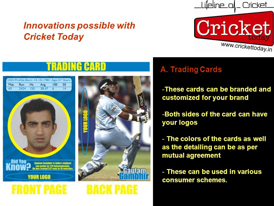 Innovations possible with Cricket Today A. Trading Cards -These cards can be branded and customized for your brand -Both sides of the card can have yo