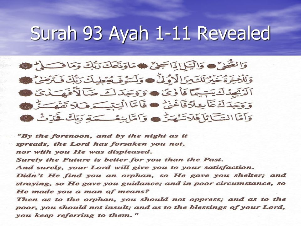 Surah 93 Ayah 1-11 Revealed