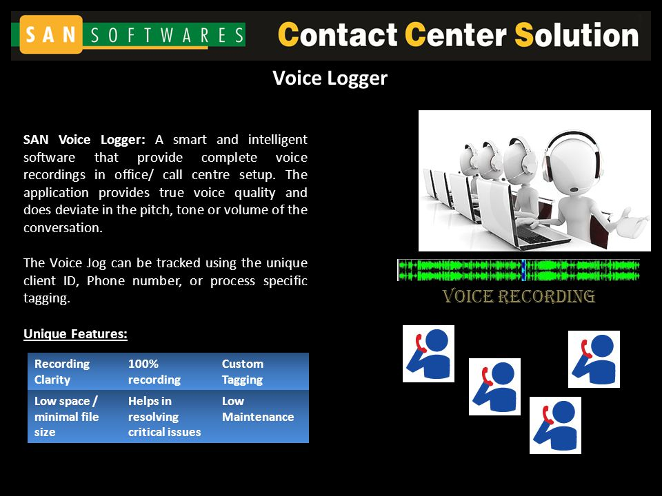 Voice Recording SAN Voice Logger: A smart and intelligent software that provide complete voice recordings in office/ call centre setup. The applicatio