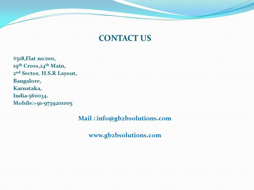 CONTACT US #518,Flat no:001, 19 th Cross,24 th Main, 2 nd Sector, H.S.R Layout, Bangalore, Karnataka, India-560034.