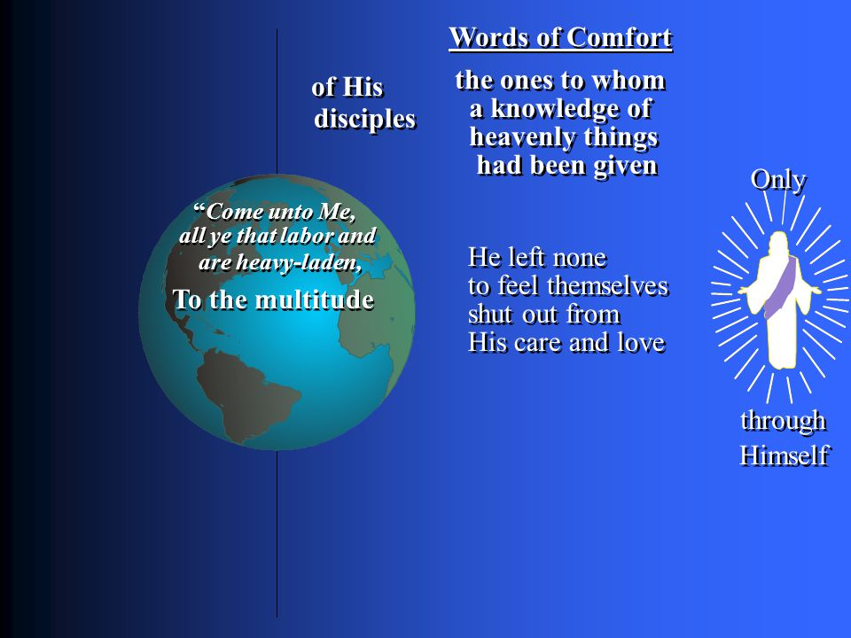 Words of Comfort To the multitude Only through Himself of His disciples a knowledge of the ones to whom heavenly things had been given He left none to