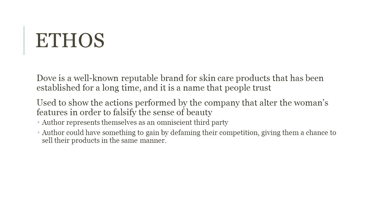ETHOS Dove is a well-known reputable brand for skin care products that has been established for a long time, and it is a name that people trust Used t