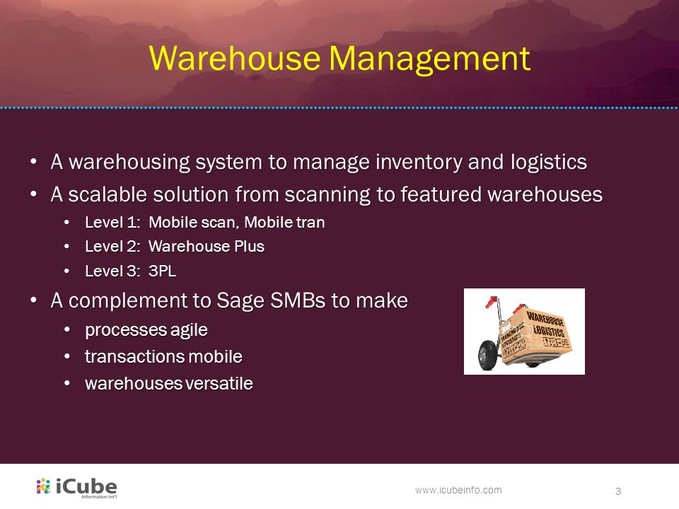 www.icubeinfo.com 3 Warehouse Management A warehousing system to manage inventory and logistics A warehousing system to manage inventory and logistics