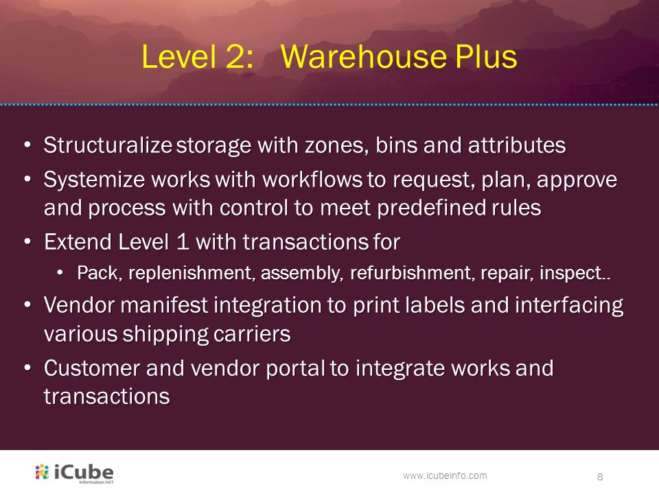 www.icubeinfo.com 8 Level 2: Warehouse Plus Structuralize storage with zones, bins and attributes Structuralize storage with zones, bins and attribute