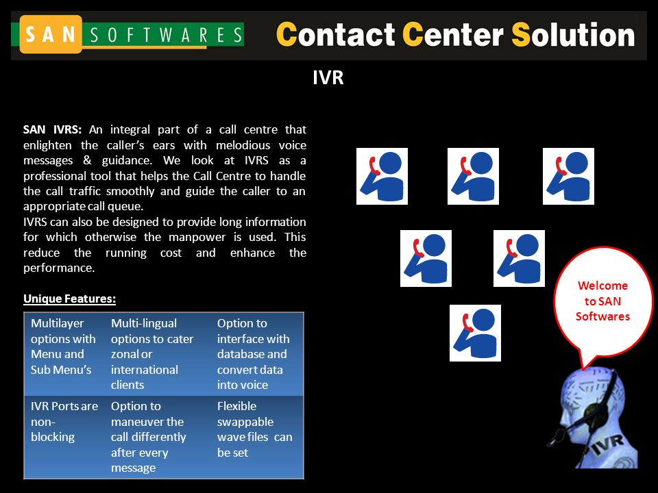 SAN IVRS: An integral part of a call centre that enlighten the caller's ears with melodious voice messages & guidance.