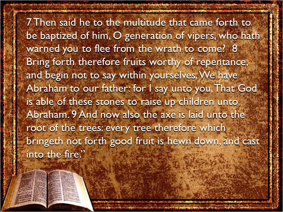15 7 Then said he to the multitude that came forth to be baptized of him, O generation of vipers, who hath warned you to flee from the wrath to come?