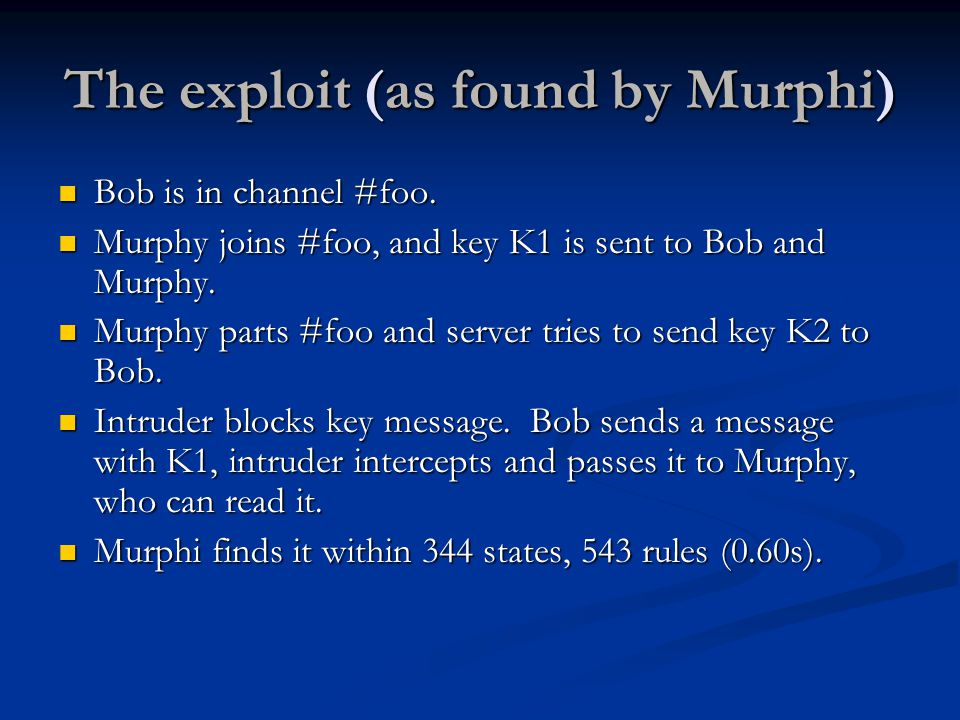 The exploit (as found by Murphi) Bob is in channel #foo.