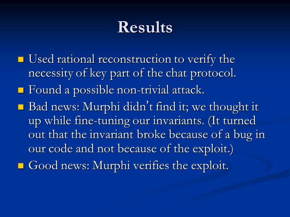 Murphi Implementation (intruder) Intruder: record partnerClient: ClientId; partnerClient: ClientId; partnerServer: ServerId; partnerServer: ServerId; messages: multiset[NumIntruderMessages] of Command; messages: multiset[NumIntruderMessages] of Command;End;