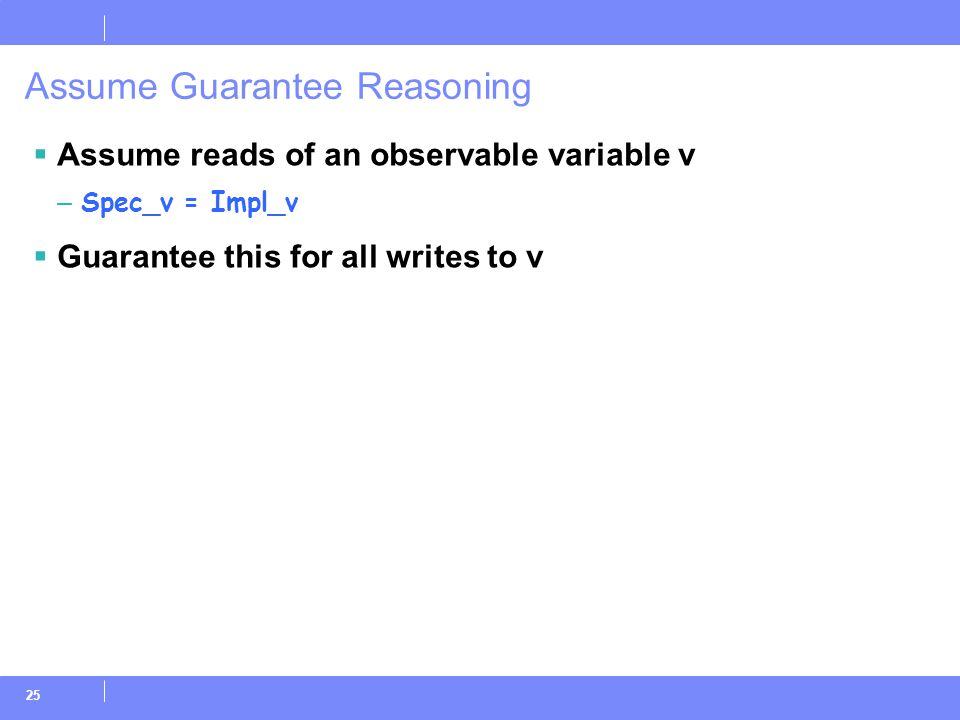25 Assume Guarantee Reasoning  Assume reads of an observable variable v – Spec_v = Impl_v  Guarantee this for all writes to v