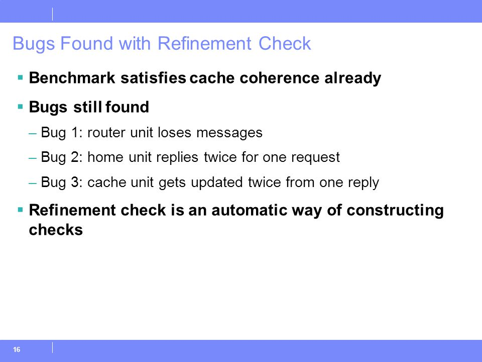 16 Bugs Found with Refinement Check  Benchmark satisfies cache coherence already  Bugs still found –Bug 1: router unit loses messages –Bug 2: home u