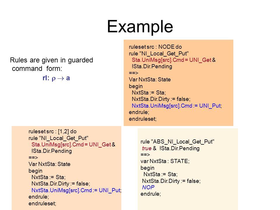 Example rule ABS_NI_Local_Get_Put true & !Sta.Dir.Pending ==> var NxtSta : STATE; begin NxtSta := Sta; NxtSta.Dir.Dirty := false; NOP endrule; ruleset src : [1,2] do rule NI_Local_Get_Put Sta.UniMsg[src].Cmd = UNI_Get & !Sta.Dir.Pending ==> Var NxtSta: State begin NxtSta := Sta; NxtSta.Dir.Dirty := false; NxtSta.UniMsg[src].Cmd := UNI_Put; endrule; endruleset; Rules are given in guarded command form: rl:  .