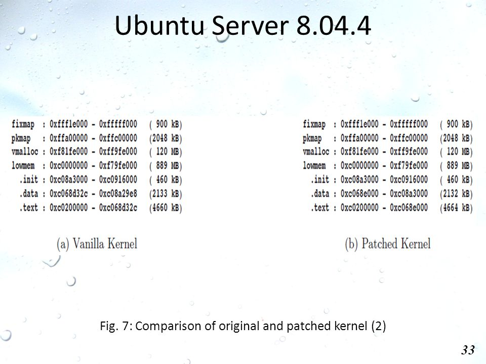 Ubuntu Server 8.04.4 33 Fig. 7: Comparison of original and patched kernel (2)