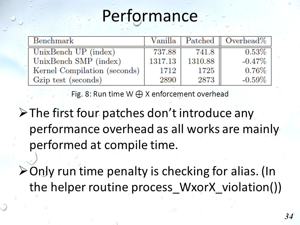 Performance 34  The first four patches don't introduce any performance overhead as all works are mainly performed at compile time.
