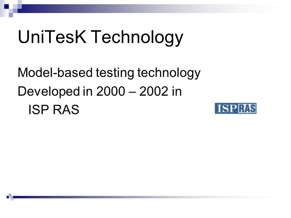 UniTesK Technology Model-based testing technology Developed in 2000 – 2002 in ISP RAS