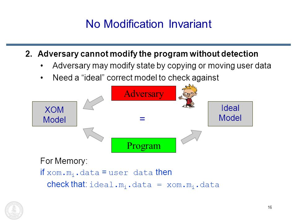 16 No Modification Invariant 2.Adversary cannot modify the program without detection Adversary may modify state by copying or moving user data Need a ideal correct model to check against For Memory: if xom.m i.data = user data then check that: ideal.m i.data = xom.m i.data Adversary Program XOM Model Ideal Model =