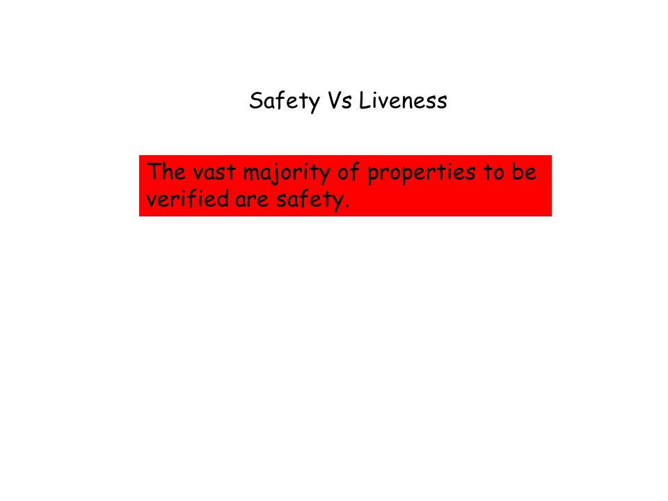 The vast majority of properties to be verified are safety. Safety Vs Liveness