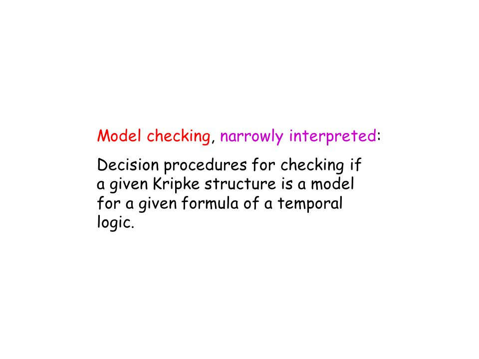 Automata theoretic approach to model checking Does M satisfy property  .