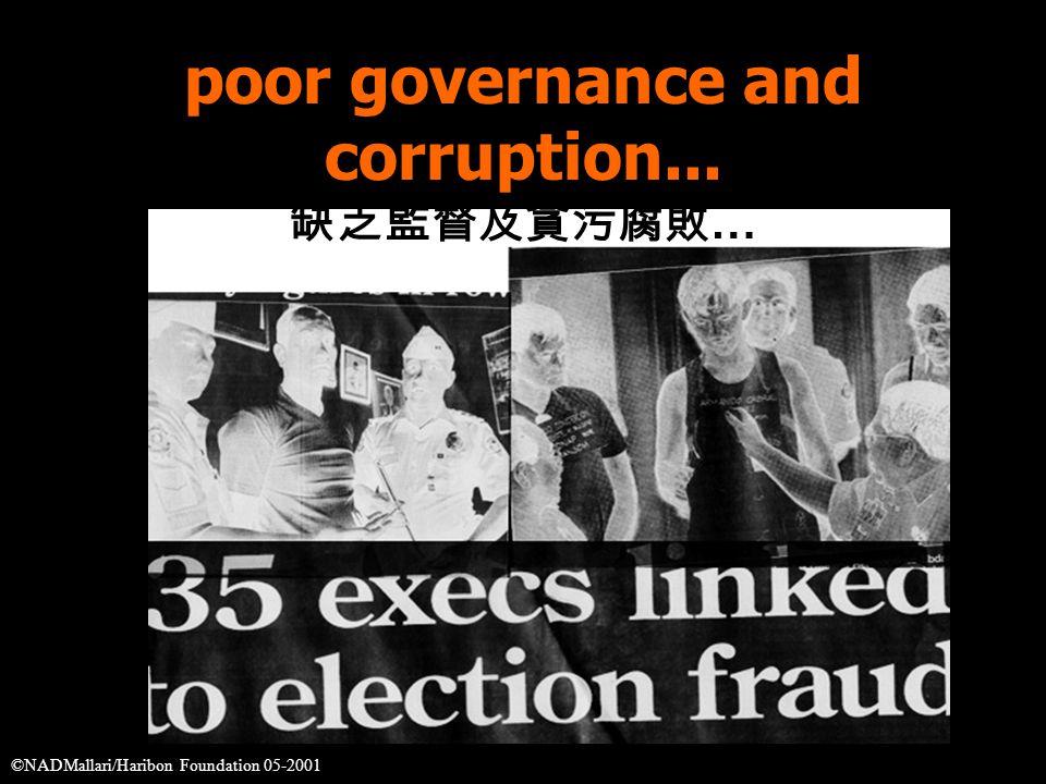 poor governance and corruption... 缺乏監督及貪污腐敗 … ©NADMallari/Haribon Foundation 05-2001