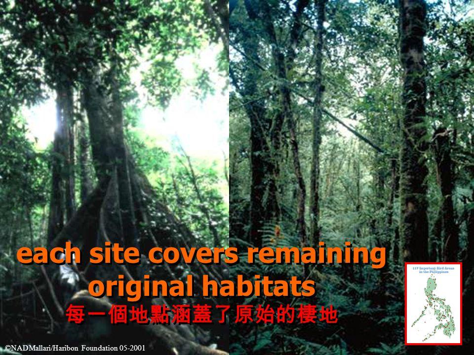 each site covers remaining original habitats 每一個地點涵蓋了原始的棲地 each site covers remaining original habitats 每一個地點涵蓋了原始的棲地