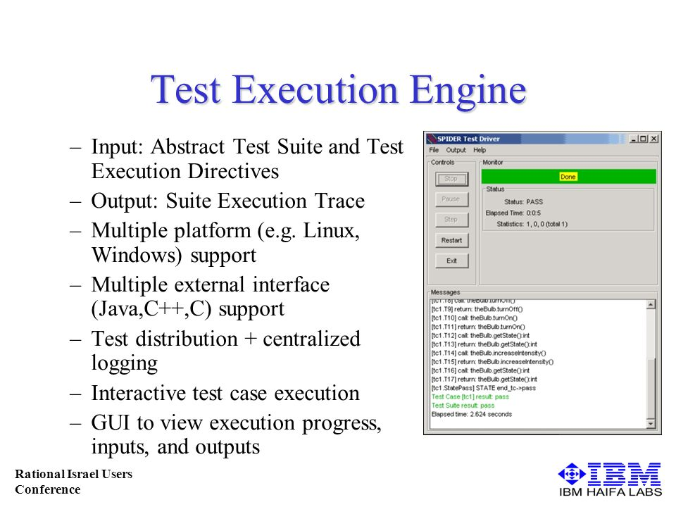 Rational Israel Users Conference Test Execution Engine –Input: Abstract Test Suite and Test Execution Directives –Output: Suite Execution Trace –Multiple platform (e.g.