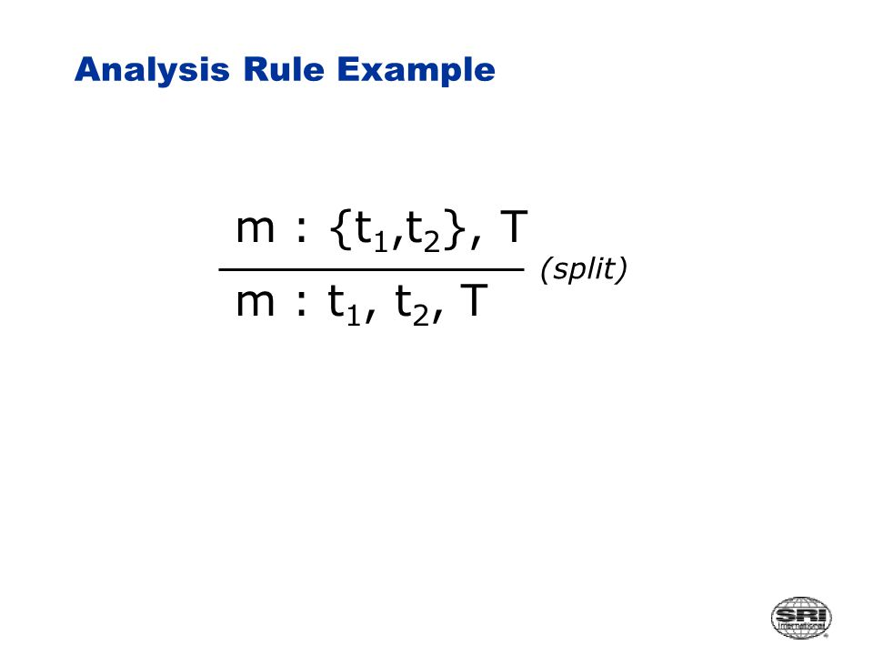 Analysis Rule Example m : {t 1,t 2 }, T m : t 1, t 2, T (split)