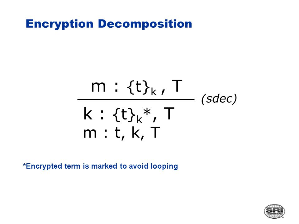 Encryption Decomposition m : {t} k, T (sdec) *Encrypted term is marked to avoid looping k : {t} k *, T m : t, k, T