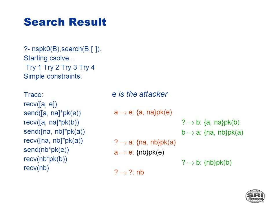 Search Result - nspk0(B),search(B,[ ]). Starting csolve...