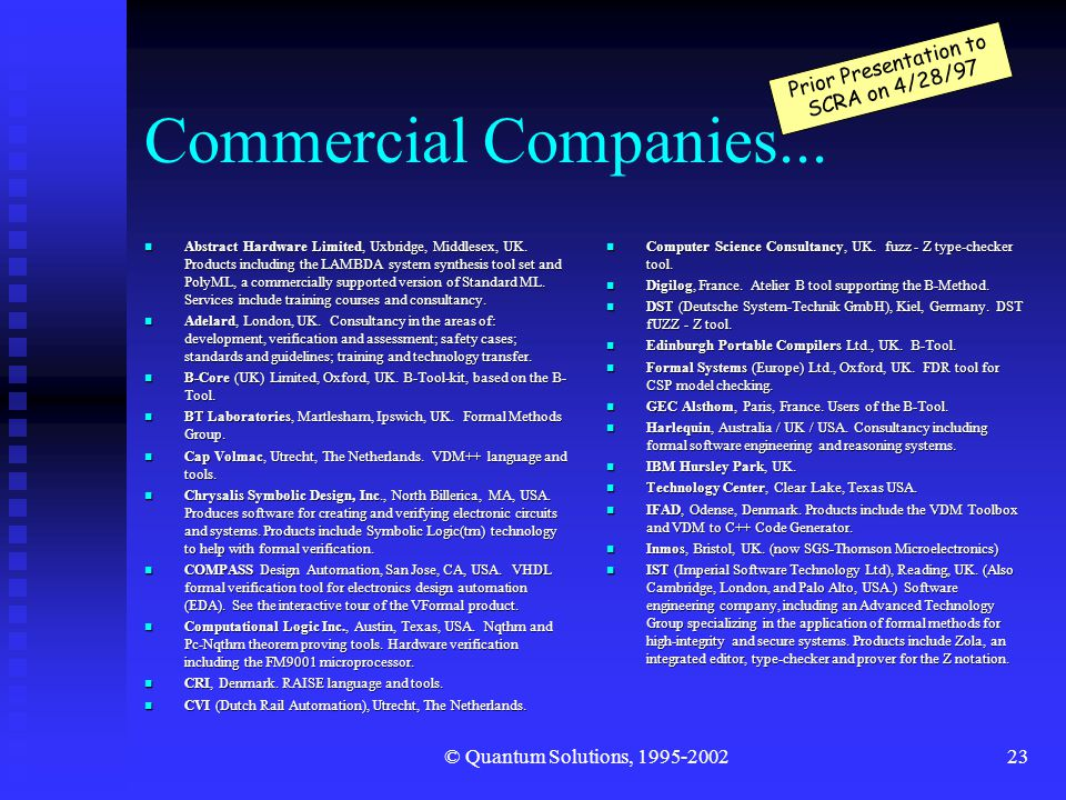 © Quantum Solutions, 1995-200223 Commercial Companies...