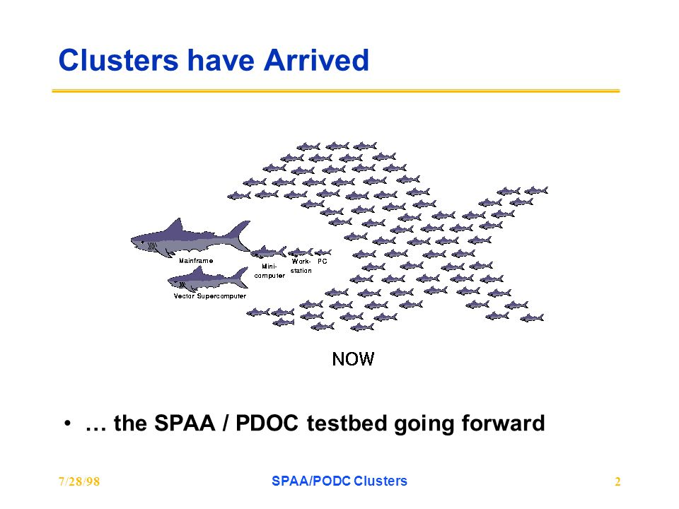 7/28/98SPAA/PODC Clusters2 Clusters have Arrived … the SPAA / PDOC testbed going forward