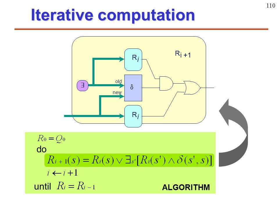 110 Iterative computation R i  R i  R i+1 old new do until ALGORITHM