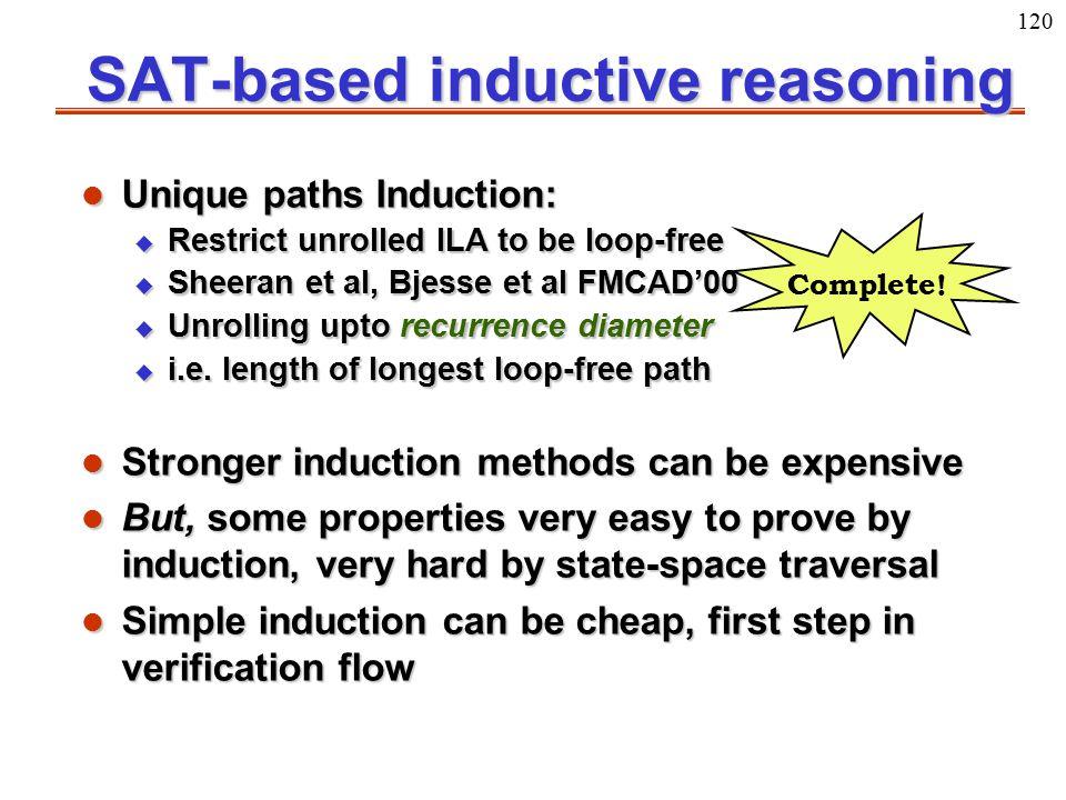 120 Complete! SAT-based inductive reasoning l Unique paths Induction: u Restrict unrolled ILA to be loop-free u Sheeran et al, Bjesse et al FMCAD'00 u