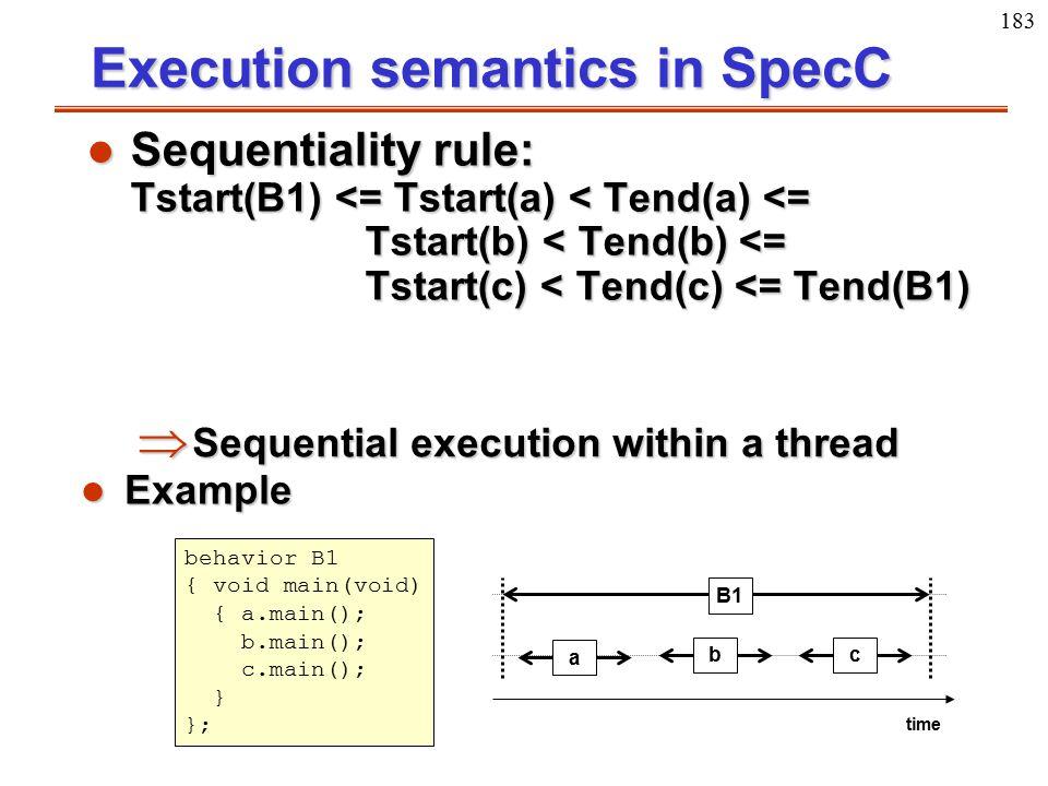 183 Execution semantics in SpecC l Sequentiality rule: Tstart(B1) <= Tstart(a) < Tend(a) <= Tstart(b) < Tend(b) <= Tstart(c) < Tend(c) <= Tend(B1)  S