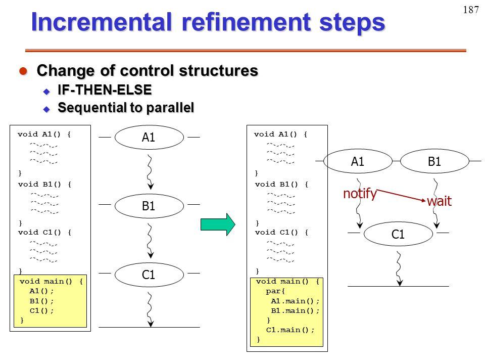 187 Incremental refinement steps A1B1 void A1() { } void B1() { } void main() { par{ A1.main(); B1.main(); } C1.main(); } void C1() { } C1 l Change of