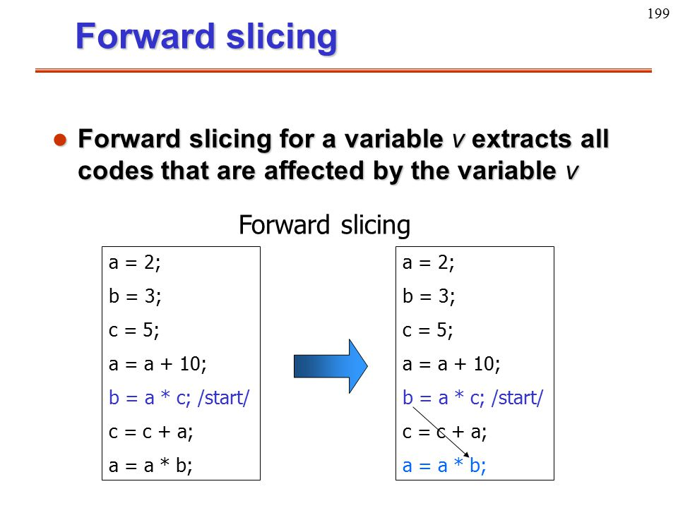 199 l Forward slicing for a variable v extracts all codes that are affected by the variable v a = 2; b = 3; c = 5; a = a + 10; b = a * c; /start/ c =