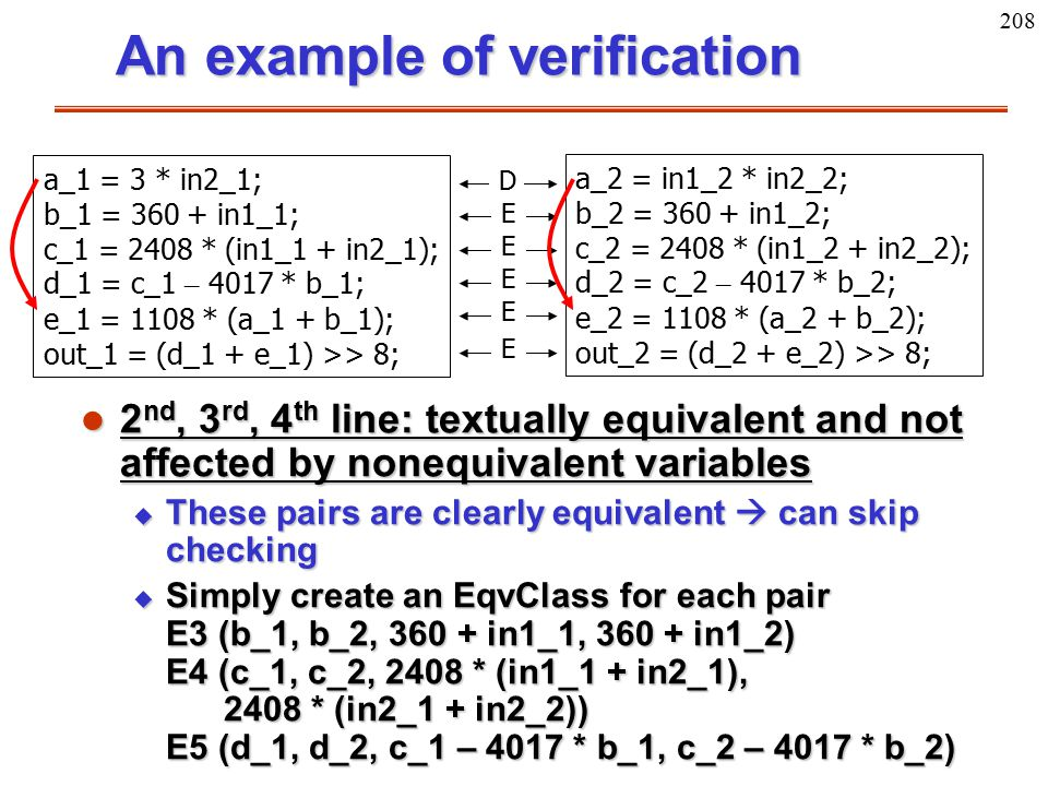 208 An example of verification l 2 nd, 3 rd, 4 th line: textually equivalent and not affected by nonequivalent variables u These pairs are clearly equ