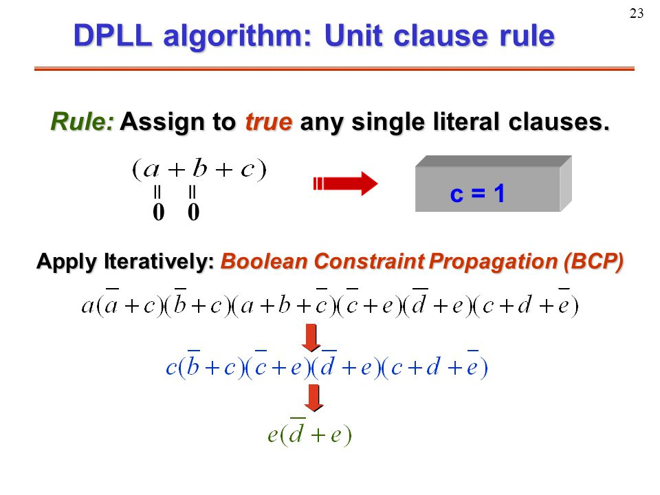 23 DPLL algorithm: Unit clause rule Rule: Assign to true any single literal clauses. = 0 = 0 c = 1 Apply Iteratively: Boolean Constraint Propagation (