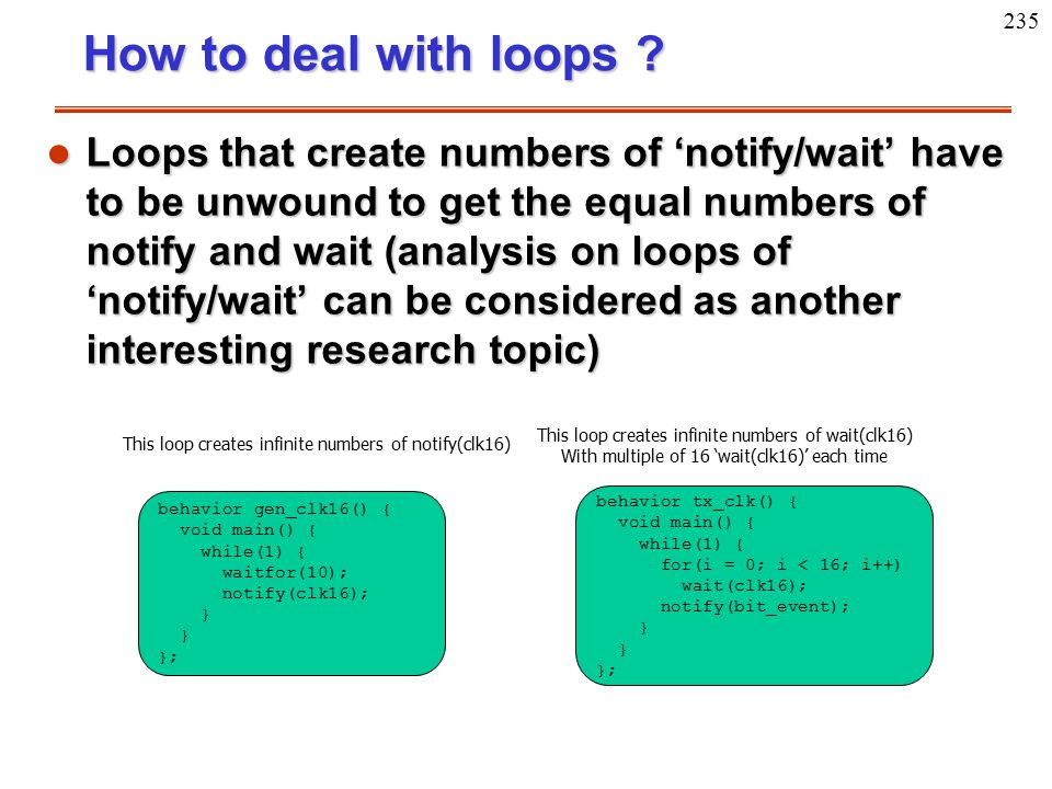 235 l Loops that create numbers of 'notify/wait' have to be unwound to get the equal numbers of notify and wait (analysis on loops of 'notify/wait' ca