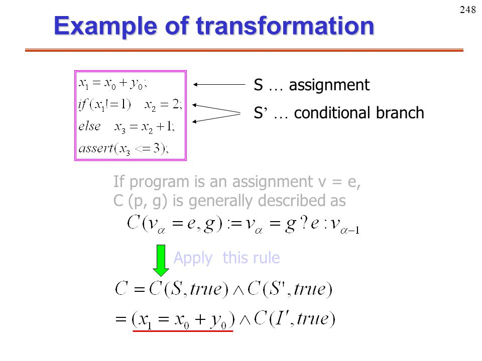 248 Example of transformation If program is an assignment v = e, C (p, g) is generally described as Apply this rule S … assignment S ' … conditional b