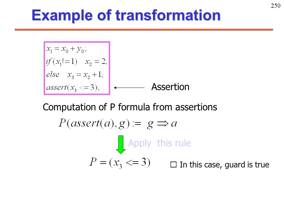 250 Example of transformation Computation of P formula from assertions Assertion Apply this rule ※ In this case, guard is true