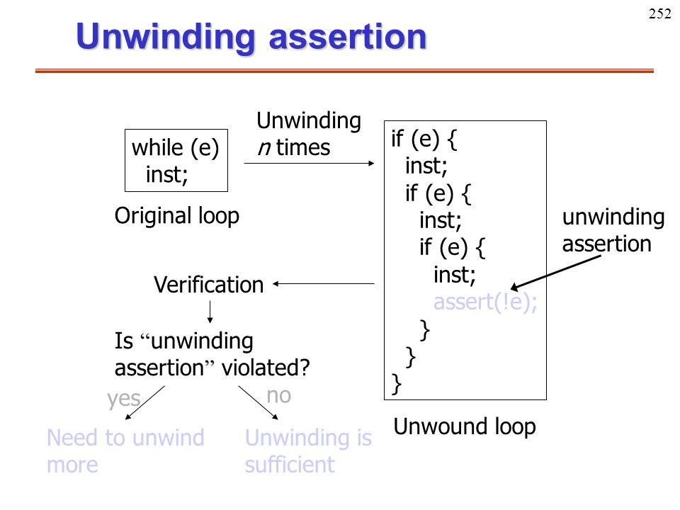 252 Unwinding assertion Original loop while (e) inst; Unwinding n times if (e) { inst; if (e) { inst; if (e) { inst; assert(!e); } } } Unwound loop un