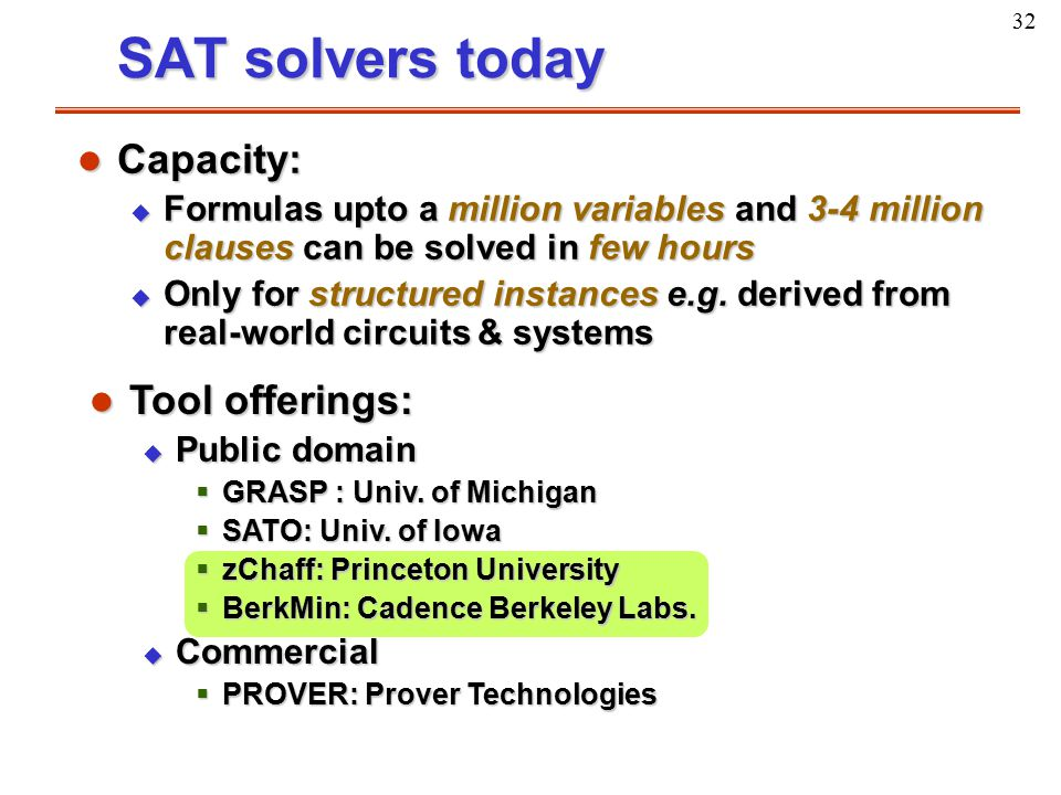 32 SAT solvers today l Capacity: u Formulas upto a million variables and 3-4 million clauses can be solved in few hours u Only for structured instance