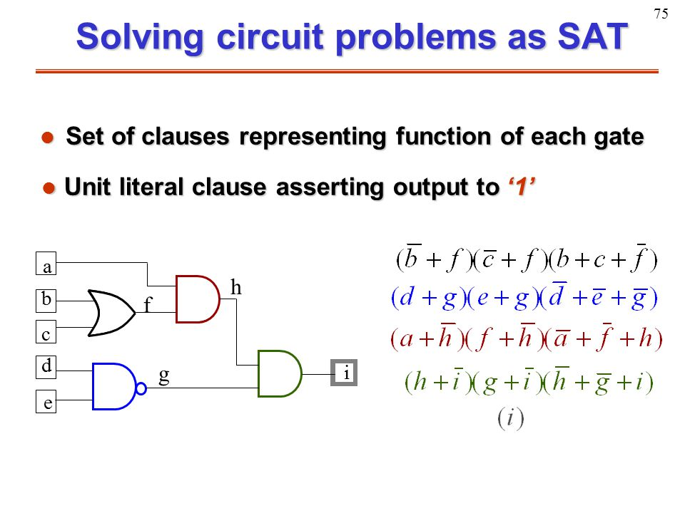 75 Solving circuit problems as SAT l Set of clauses representing function of each gate a b c d e f g h i Unit literal clause asserting output to '1' U