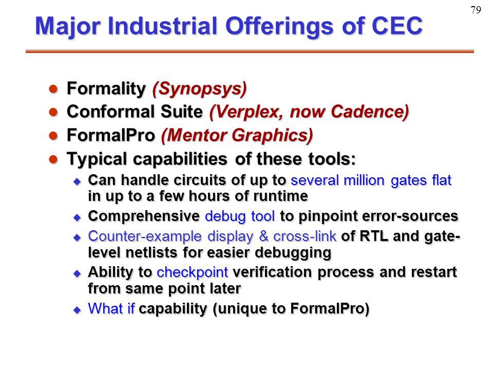 79 Major Industrial Offerings of CEC Major Industrial Offerings of CEC l Formality (Synopsys) l Conformal Suite (Verplex, now Cadence) l FormalPro (Me