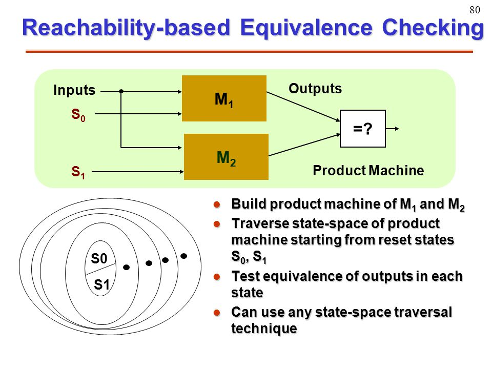 80 Reachability-based Equivalence Checking l Build product machine of M 1 and M 2 l Traverse state-space of product machine starting from reset states