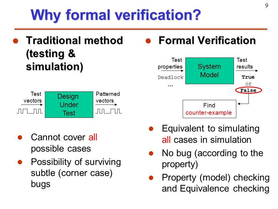 9 Why formal verification? l Traditional method (testing & simulation) l Formal Verification Design Under Test vectors Patterned vectors System Model